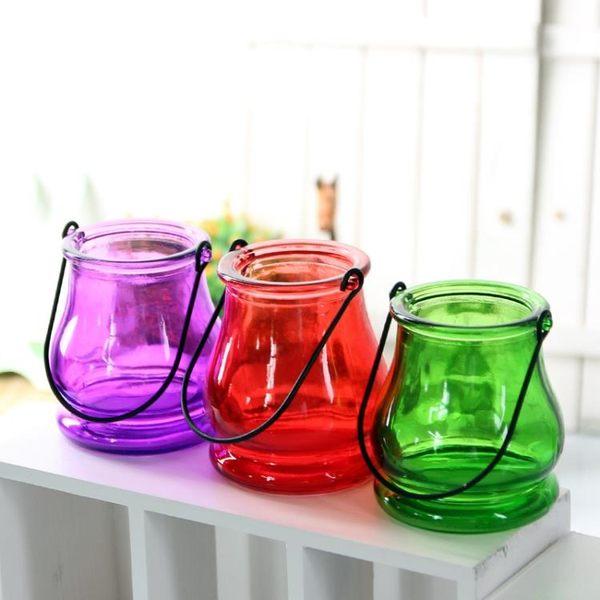 [超豐國際]歐式彩色創意懸掛玻璃花瓶 透明吊環水培插花花器桌1入