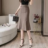 包臀裙女夏季中長款一步裙職業氣質西裝包裙半身裙高腰顯瘦魚尾裙 快速出貨