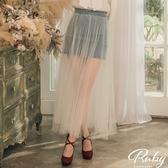 裙子 假兩件透膚牛仔紗裙長裙-Ruby s 露比午茶