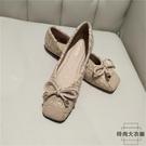 方頭平底鞋女淺口平跟蝴蝶結豆豆鞋軟底奶奶鞋【時尚大衣櫥】