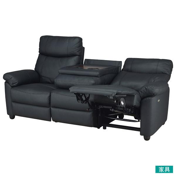 ◎半皮3人用電動可躺式沙發 GRAZE BK NITORI宜得利家居