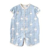 日本 Hoppetta 可愛動物六層紗2WAY睡袍(藍)