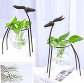 水培綠蘿透明玻璃花器創意鐵藝小清新家居客廳餐桌插花裝飾品擺件gogo購