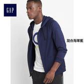 GapFit男裝 運動系列針織拉鏈連帽長袖休閒外套 720882-混合海軍藍