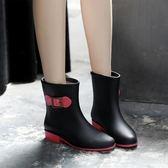 短筒時尚雨鞋 雨靴 雨靴女成人保暖雨靴防滑水鞋套鞋棉正韓加絨膠鞋防水水靴