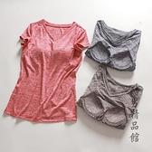 帶胸墊睡衣女夏短袖T恤速干免文胸罩杯一體家居服上衣運動可外穿 酷男精品館