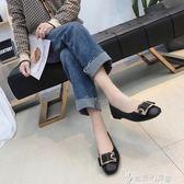 黑色小皮鞋女士2019春季新款韓版英倫風百搭中跟單鞋粗跟高跟鞋秋   奇思妙想屋