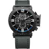 RHYTHM日本麗聲 運動系列大錶徑計時手錶-黑x灰/46mm I1401I03