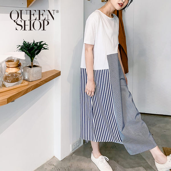 Queen Shop【01084460】不對稱條紋下襬拼接造型短袖洋裝*現+預*