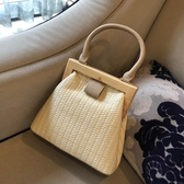 草編包 包包女包新款ins夏季時尚復古草編包側背斜背包木夾子手提包 伊蘿