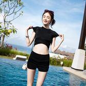 復古游泳衣女分體平角褲短袖高腰保守顯瘦韓國溫泉小香風學生泳裝 QQ3300『MG大尺碼』
