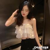 韓版chic鬆緊彈力蛋糕層次閃閃亮性感抹胸 高腰顯瘦喇叭褲套裝女 時尚芭莎