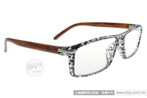 【金橘眼鏡】EJING眼鏡 潮流時尚#EJ9013 C104 碎黑-棕 -都會時尚 (免運)