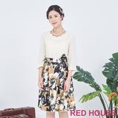 【RED HOUSE 蕾赫斯】花瓣領花朵洋裝(卡其色)