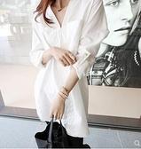 初秋裝新款韓版中長款白色襯衫女棉寬鬆長袖夏秋襯衣V領韓范