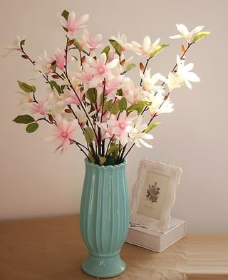 [協貿國際]裝飾花瓶陶瓷插花花器玉蘭花卉高仿真假花擺放客廳樣板房會所套裝1套入