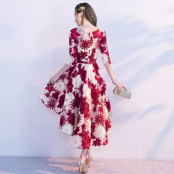 小鄧子中袖新娘敬酒服2017新款夏季結婚紅色前短後長款連衣裙婚宴晚禮服(主圖款)