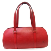 LOUIS VUITTON LV 路易威登 紅色EPI水波紋圓筒子母手提包 Soufflot M52227  BRAND OFF
