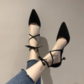 新款包頭涼鞋女尖頭貓跟交叉一字扣帶高跟鞋細跟中空單鞋 黛尼時尚精品