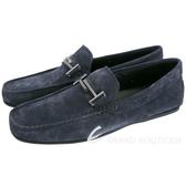 TOD'S City Gommino 雙T金屬飾麂皮豆豆休閒鞋(男鞋/深藍色) 1840078-34