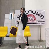 春季新款復古韓國V領百搭白色長袖洋裝氣質收腰顯瘦純色仙女裙 糖糖日系森女屋