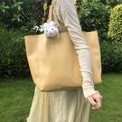 托特包 大容量溫柔百搭自制軟皮托特包淡奶油黃日系少女單肩女包購物袋 快速出貨