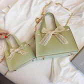 包包新款手提蕾絲蝴蝶結復古風子母包單肩斜跨女包 QQ28979『東京衣社』
