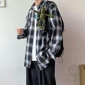 襯衫男長袖秋寬鬆襯衣港風上衣服情侶百搭外套【小酒窩服飾】