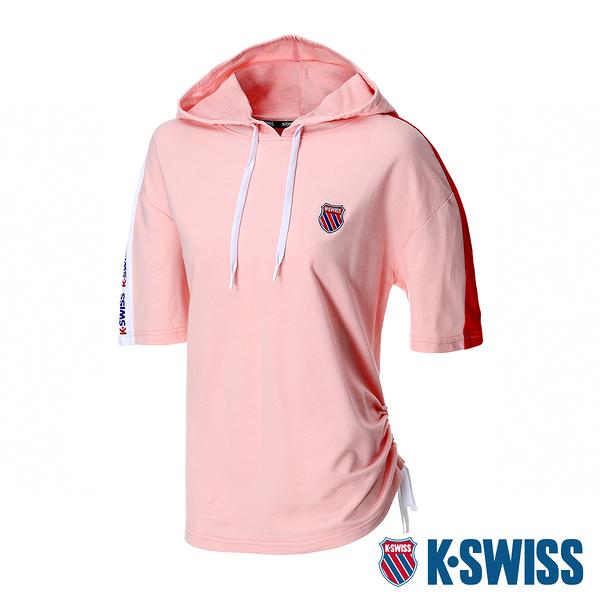 【超取】K-SWISS Loose Fit Hoodie短袖連帽上衣-女-粉紅