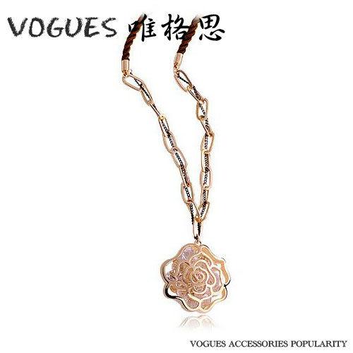 雙層鏤空玫瑰花造型毛衣鍊(4色)  情人節禮物 【Vogues唯格思】A035
