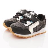 FILA頂級童鞋織網反光慢跑鞋451T-091黑 -14~19cm