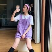 夏季韓版2020新款ins網紅洋氣減齡紫色工裝闊腿背帶短褲女褲子潮(快速出貨)