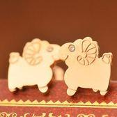 玫瑰金 鑲鑽 純銀耳環(耳針式)-可愛小綿羊流行生日七夕情人節禮物女飾品71at86【巴黎精品】