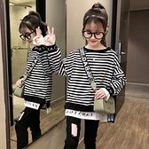 女童上衣 女童長袖T恤2021秋冬新款韓版洋氣小女孩中大童學生時髦網紅上衣 維多原創