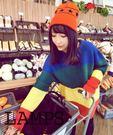 (全館一件免運費)DE SHOP~(RT-8490)復古學院彩虹拼色條紋寬鬆毛衣針織上衣