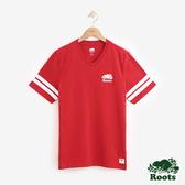男裝Roots 袖口雙條紋V領短袖T恤 - 紅色