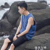 夏季字母印花汗背心男士寬鬆圓領潮流無袖體恤打底衫 海角七號