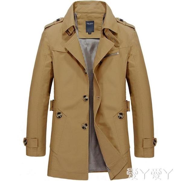 風衣外套 春秋季薄款純棉男士風衣中長款翻領單排扣短款工裝夾克大衣男修身 愛丫 新品