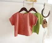韓國東大門童裝 夏款兒童短袖罩衫男女童文藝范寬鬆短袖麻T 幸福第一站
