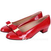 Salvatore Ferragamo VARA 蝴蝶結飾漆皮粗跟鞋(紅色) 1440690-54