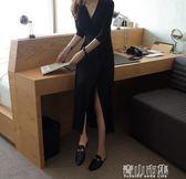 開衫深V禮服收腰莫代爾垂感中袖氣質黑色長裙洋裝 青山市集