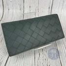 BRAND楓月 Bottega Veneta BV 635567 灰綠編織二折長夾 小牛皮 大編織 錢包 皮夾 錢夾