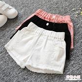 女童夏季牛仔短褲韓版破洞中大童兒童白色純棉外穿百搭寬鬆熱褲子 店慶降價