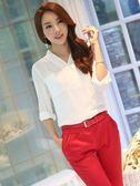 特殊V領設計 寬鬆式雙口袋長袖 OL白襯衫 wcps11