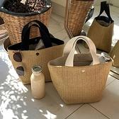 ins新款網紅海邊夏季沙灘度假百搭編織包復古手提包草編包女「青木鋪子」