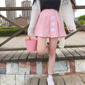 春夏軟妹少女愛心刺繡高腰顯瘦粉色百褶裙學生百搭A字半身裙  檸檬衣舍