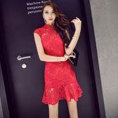 限時38折 韓國風復古旗袍裙氣質魚尾裙修身蕾絲短袖洋裝