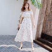 一字肩洋裝女中長款韓版很閒的小眾雪紡裙子清 三角衣櫃