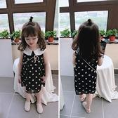 夏裝 中小童圓點兒童洋裝 女童寶寶小清新娃娃領背心裙子 秋季新品