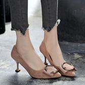中跟鞋 小清新高跟鞋少女中跟單鞋淺口細跟裸色尖頭鞋貓跟 巴黎春天